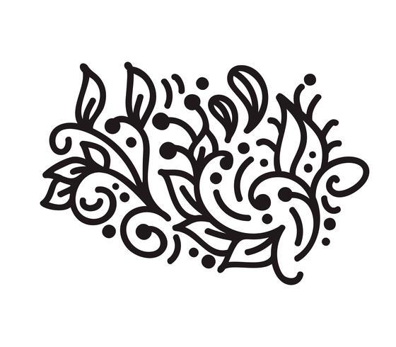 La monina scandinava d'annata fiorisce il vettore del monogramma con le foglie ed i fiori