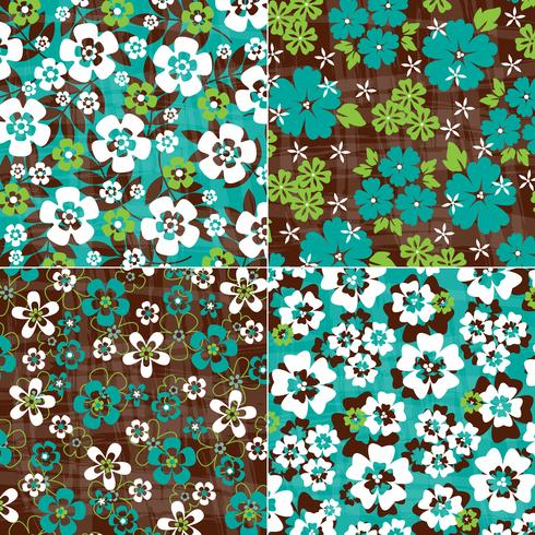 Blauwe en groene tropische bloemmotieven