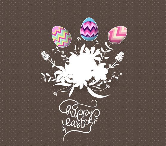 oeuf de Pâques invité avec carte de voeux fleurs