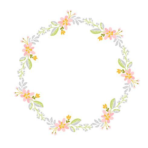 Spring flower herbs wreath. Flat abstract Vector garden frame