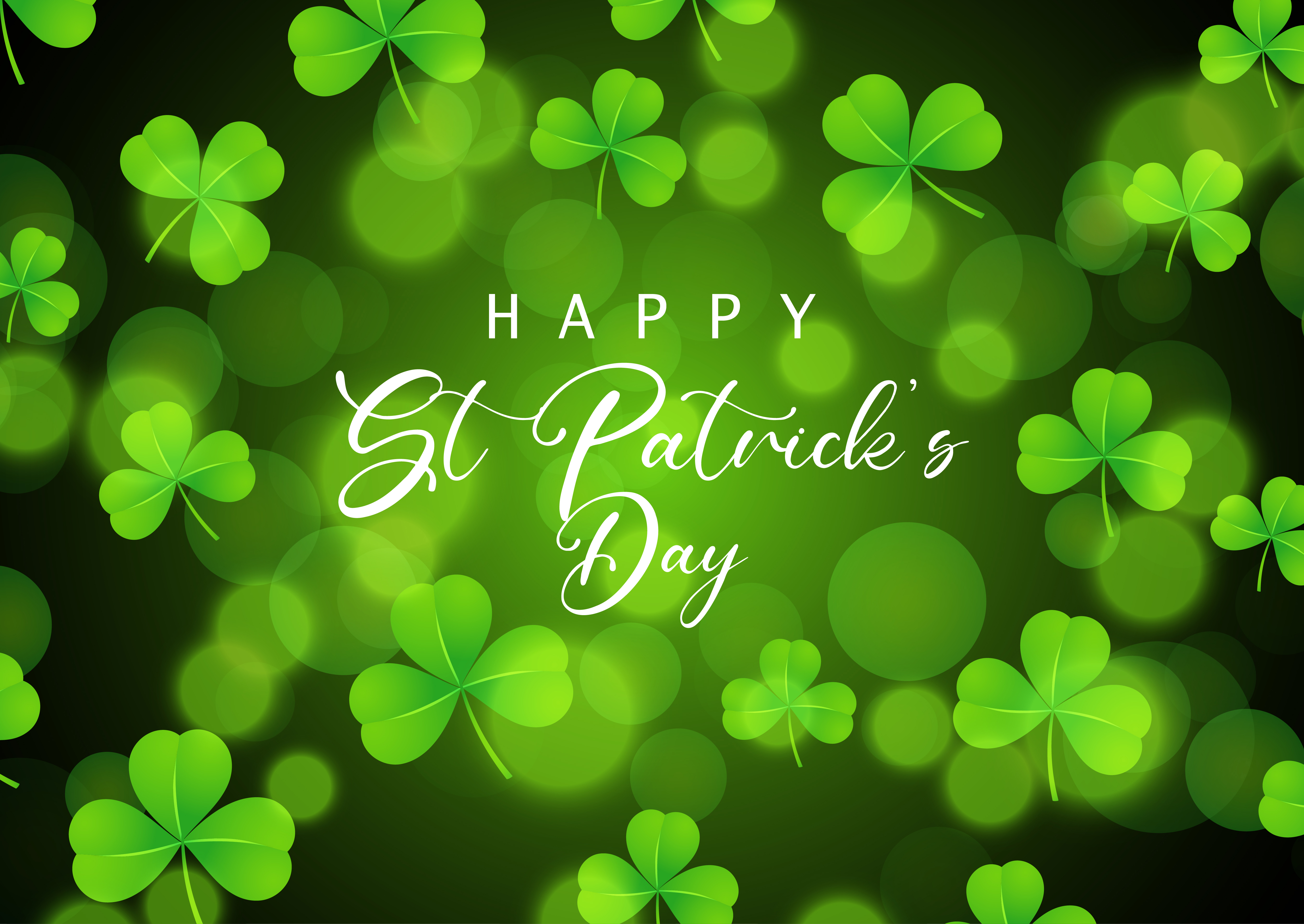 St Patrick's Day background with shamrock on bokeh lights ...
