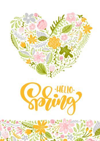 Cartolina d'auguri di vettore del fiore con testo Ciao primavera