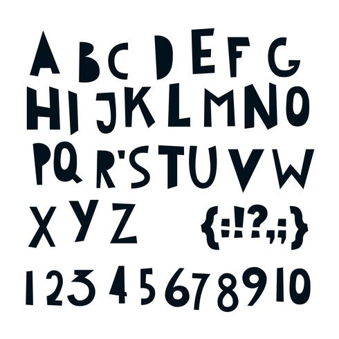 ABC letras y números latinos.