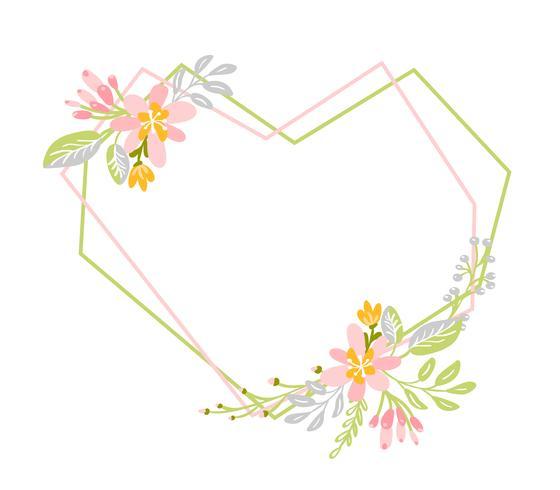 Geometrischer Frühlingskranz mit Blume. Flacher Krautzusammenfassungsvektor-Gartenrahmen.