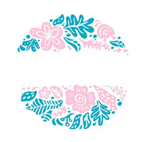 Composición tropical del vector del ornamento floral del marco del verano con el lugar para el texto