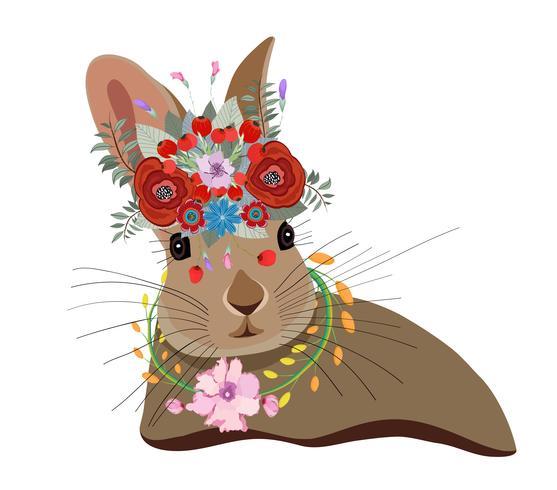 Nette Karte mit reizendem Kaninchen. Kaninchen in einem Blumenkranz
