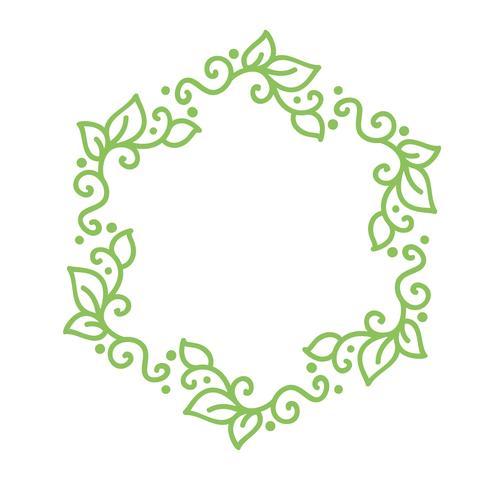 Vector grünen Monolinekalligraphie-Flourishrahmen für Weinlesegrußkarte