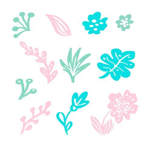 Conjunto de elementos florais planos isolados de vetor no fundo branco