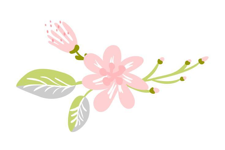 Vektor lokalisierte flache Blume auf weißem Hintergrund