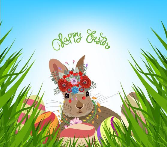 easter eggs spring fresh grass background vector