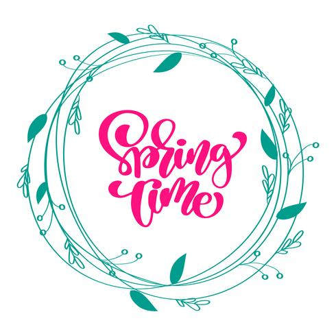 Floral Vector wreath background with calligraphic lettering text Spring Time