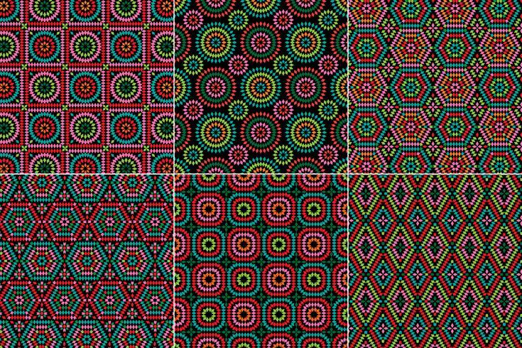 abuelita cuadrados patrones en fondos negros