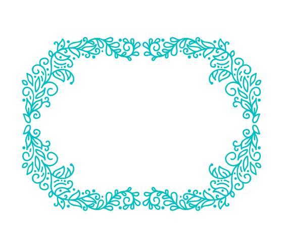 De turkooise vectormonolinekalligrafie bloeit frame voor groetkaart