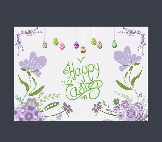 Happy easter eggs greeting card flower purple vector