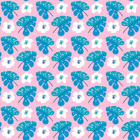 Vektor sommar sömlösa mönster med plana blommor och tropiska löv
