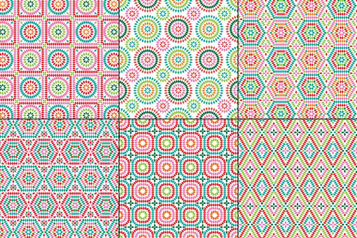 granny square patterns on white backgrounds vector