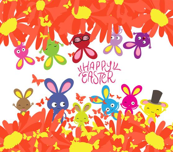 Happy easter with rabbit, sunflowers and butterflies background - Download Free Vector Art, Stock Graphics & Images