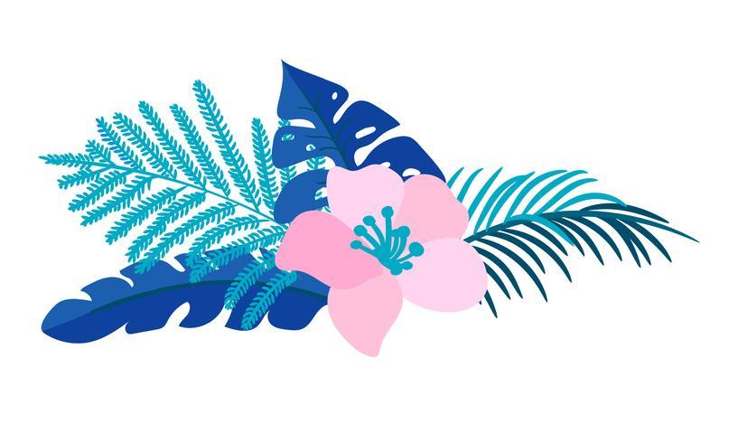 Vector Sommer lokalisiertes tropisches Palm monstera des flachen Blumenblumenstraußes