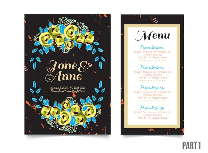 Trendy card with roses for weddings, save the date invitation  vector
