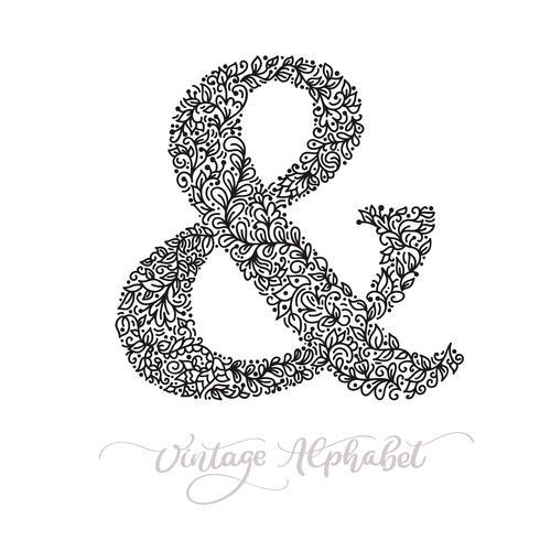 Vector monoline sign - ampersand. Vintage logo monogram Concept Icon
