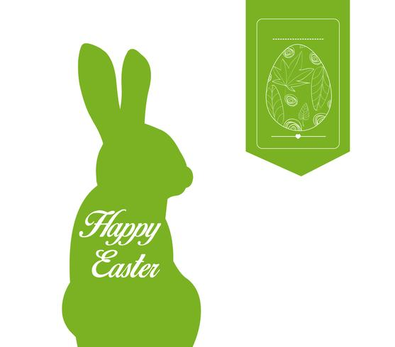 happy easter typographical and eggs label background
