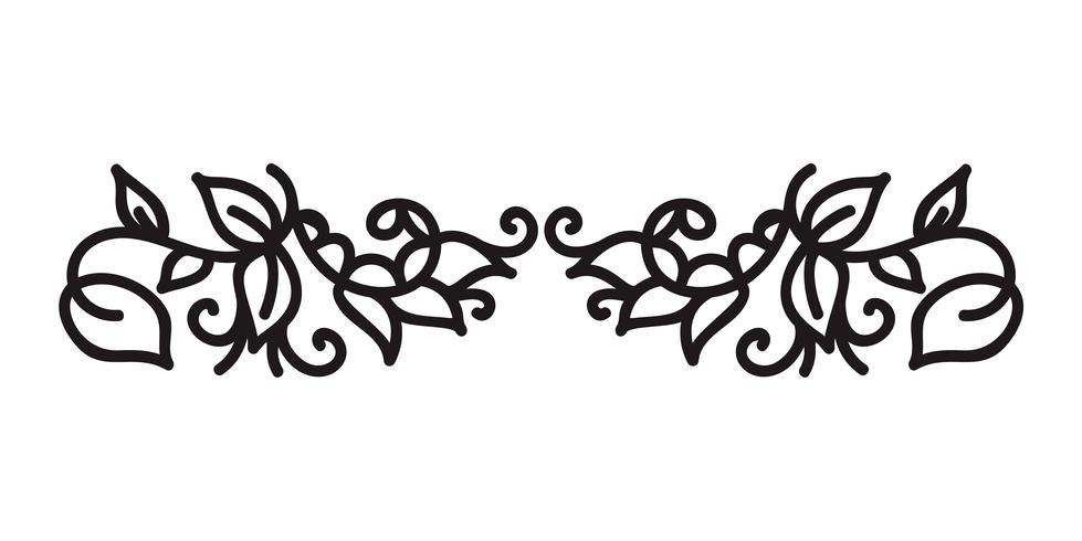 La monolina d'annata fiorisce il vettore scandinavo del monogramma con le foglie ed i fiori