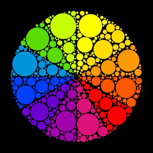 Roue de couleurs ou cercle de couleurs sur fond noir
