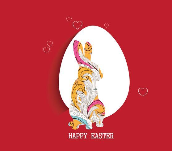 feliz Páscoa com frame de retrato de coelho floral doodle