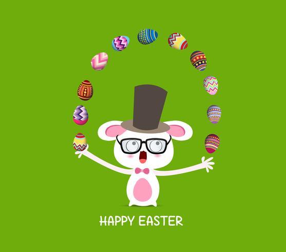 Frohe Ostern. Zirkusfangkaninchen mit Eiern