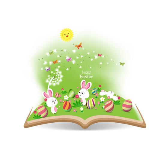 Ostereifrühling mit Löwenzahn im Buch