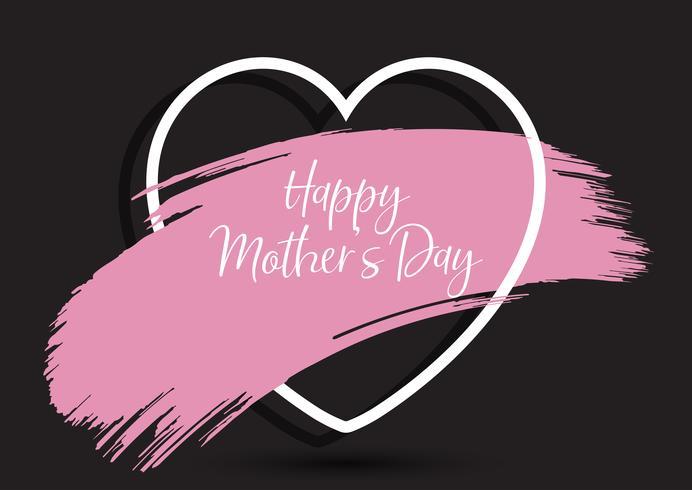Mother's Day-achtergrond met grunge penseelstreek in hart