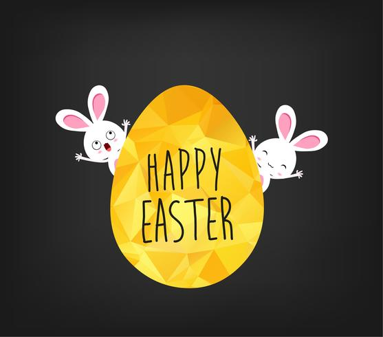 Happy Easter greeting card in low poly triangle style. Flat design polygon of golden easter egg and bunny isolated on black background vector