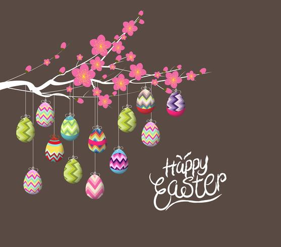 Happy easter card, colorful eggs