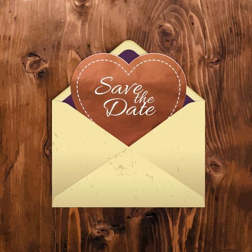 Manila kuvert med ett hjärta