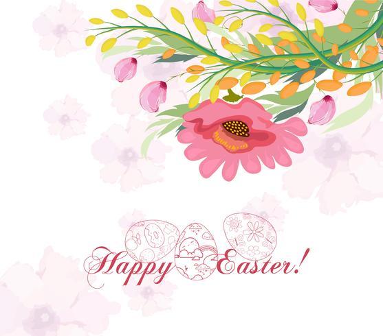 Pasen-achtergrond met leuk Konijntje en ei