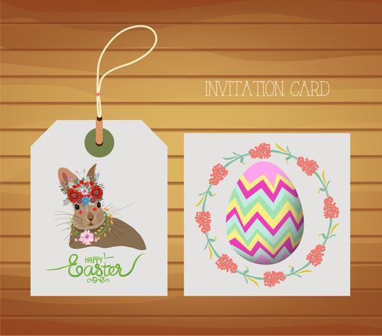 Carte de Pâques avec oeuf et lapin
