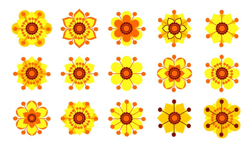 Set of vintage yellow flowers.  vector