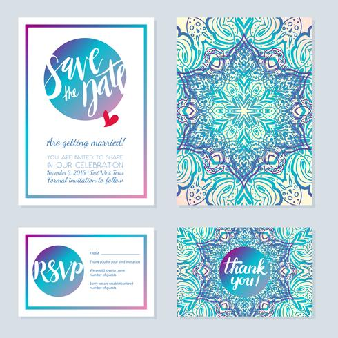 Delicate wedding invitations in ethnic Indian style.
