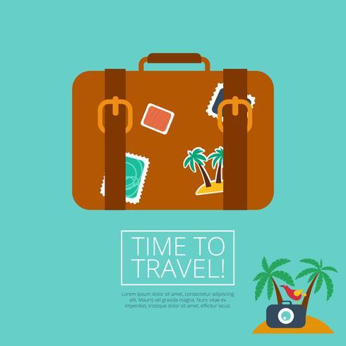 Koffer Lederkoffer mit Reiseaufkleber