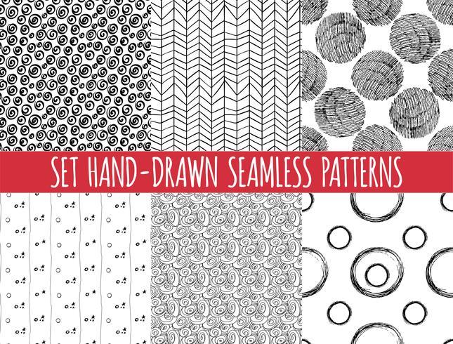 Conjunto de cuatro patrones sin fisuras abstractos dibujados a mano, vector