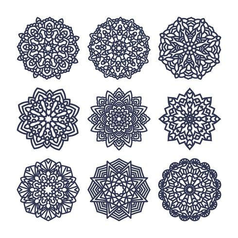 Set av mandalas. Indisk bröllopsmeditation.