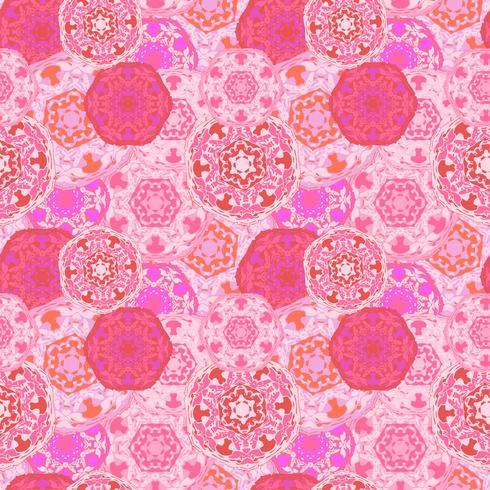 Modèle sans couture gypsy des mandalas ronds multicolores abstraits