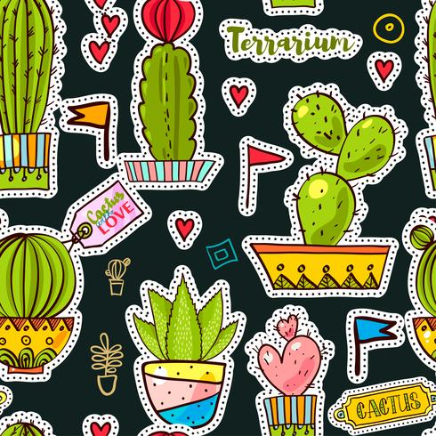 Set Fashion Patches, Broschen mit Kakteen