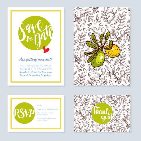 Set bruiloft kaarten, uitnodigingen voor een bachelorette