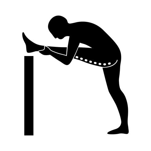 Stretching Exercise Icon to stretch hamstrings and abductors.