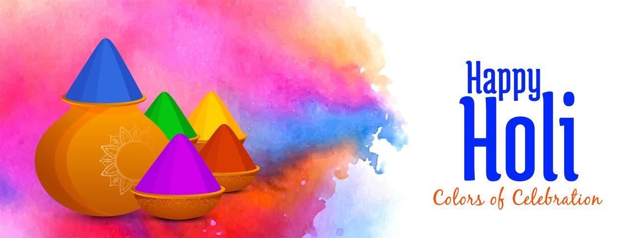 Abstrait bannière de festival indien Happy Holi