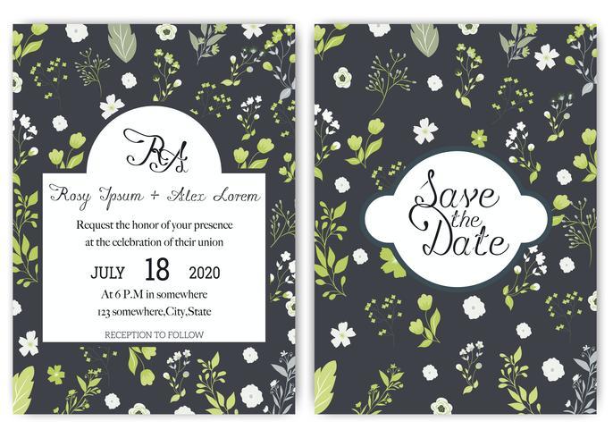 bröllop inbjudningskort svit med tusensköna blommar mallar.