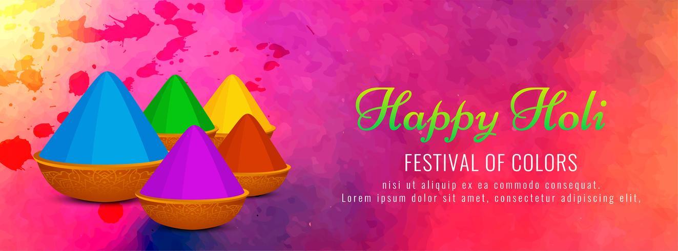 Happy Holi belle conception de bannière décorative