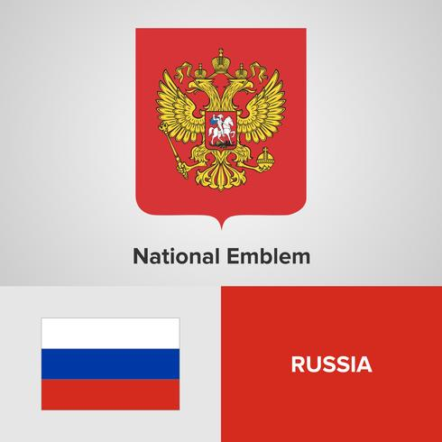 Russia National Emblem, Map and flag