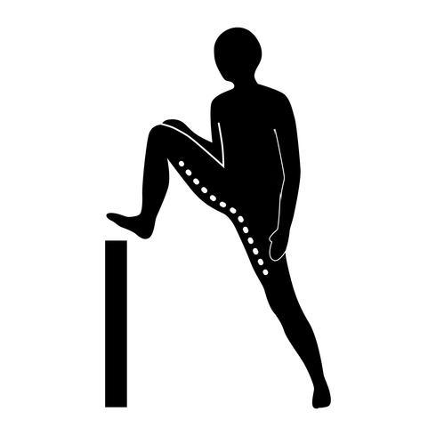 Stretching Exercise Icon zur Dehnung des Bizeps Femoris spezifisch.